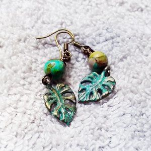 NEW! Green Sea Sediment Earrings for Plant Lovers